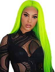 cheap -Synthetic Lace Front Wig Straight Free Part Lace Front Wig Long fluorescent green Synthetic Hair 18-26 inch Women's Soft Elastic Women Green / Glueless