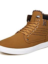 cheap -Men's Suede Shoes Suede Winter Casual Sneakers Warm Color Block Black / Yellow / Slogan / Comfort Shoes