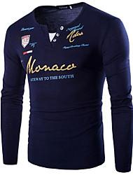 abordables -Tee-shirt Homme, Graphique / Lettre Imprimé Basique Noir