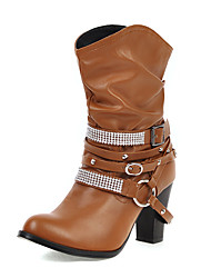 cheap -Women's Boots Chunky Heel Round Toe Rhinestone / Rivet PU Mid-Calf Boots Vintage / British Fall & Winter Black / Brown / Beige