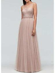 cheap -A-Line Bateau Neck Floor Length Chiffon Bridesmaid Dress with Sash / Ribbon / Pleats / Open Back
