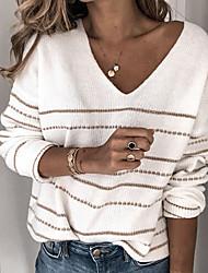 Недорогие -Жен. Полоски Длинный рукав Пуловер, V-образный вырез Белый / Лиловый / Красный S / M / L