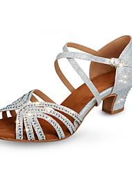 cheap -Women's Modern Shoes / Ballroom Shoes Synthetics Cross Strap Heel Sparkling Glitter / Buttons / Glitter Thick Heel Customizable Dance Shoes Silver / Practice