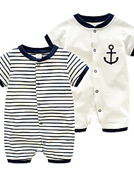 cheap -Baby Unisex Basic Daily Striped Printing Short Sleeves Romper White
