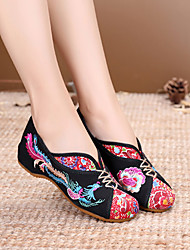 cheap -Women's Flats Flat Heel Round Toe Satin Flower Canvas Vintage / Chinoiserie Spring &  Fall / Spring & Summer Black / Red / Beige