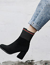 cheap -Women's Boots Chunky Heel Square Toe Suede Mid-Calf Boots Minimalism Fall & Winter Black / Green / Party & Evening / Color Block