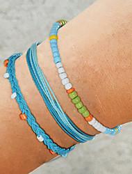cheap -3pcs Women's Blue Green White Bead Bracelet Wrap Bracelet Vintage Bracelet Layered Weave Vintage Trendy Fashion Boho Colorful Cord Bracelet Jewelry Blue For Daily School Street Holiday Festival