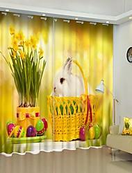 cheap -Small White Rabbit in The Basket Digital Printing 3D Curtain Shading Curtain High Precision Black Silk Fabric High Quality Curtain