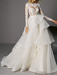 cheap -A-Line Wedding Dresses Jewel Neck Sweep / Brush Train Lace Organza Long Sleeve with Buttons Cascading Ruffles 2020