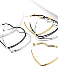 cheap -Women's Ear Piercing Hoop Earrings Geometrical Heart Stainless Steel Earrings Jewelry Black / Gold / Silver For Party Graduation Gift Daily Festival 1 Pair