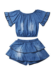 cheap -Baby Girls' Casual Blue Solid Colored Pleated Short Sleeve Long Clothing Set Blue