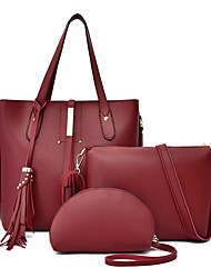 cheap -Women's Tassel PU Bag Set Solid Color 3 Pcs Purse Set Black / Brown / Dark Brown