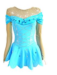 cheap -Figure Skating Dress Women's Girls' Ice Skating Dress Blue Stretchy Competition Skating Wear Handmade Classic Long Sleeve Ice Skating Figure Skating