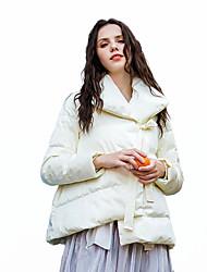 Недорогие -Жен. Однотонный Короткая Парка, Полиэфир Белый / Розовый M / L / XL