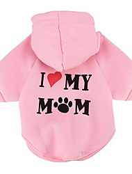 cheap -Cat Dog Hoodie Fleece Hoodie Winter Dog Clothes Dark Red White Yellow Costume Bulldog Shiba Inu Pug Cotton Letter & Number Casual / Daily XS S M L