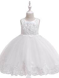 cheap -Kids Toddler Girls' Active Cute Solid Colored Floral Christmas Lace Bow Layered Sleeveless Knee-length Dress White