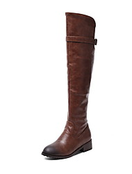 cheap -Women's Boots Knee High Boots Low Heel Round Toe PU Knee High Boots Fall & Winter Black / Brown / Yellow