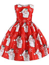 cheap -Kids Girls' Vintage Christmas Print Sleeveless Knee-length Dress Red