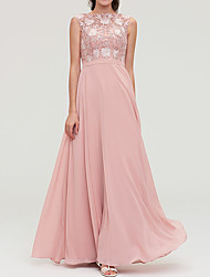 cheap -A-Line Jewel Neck Floor Length Chiffon Bridesmaid Dress with Appliques / Buttons