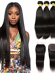 cheap -3 Bundles with Closure Malaysian Hair Straight Human Hair Unprocessed Human Hair Natural Color Hair Weaves / Hair Bulk Bundle Hair One Pack Solution 8-20 inch Natural Color Human Hair Weaves New / 8A