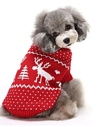 cheap -Dog Sweater Reindeer Casual / Daily Christmas Winter Dog Clothes Red Blue Costume Acrylic Fibers XS S M L XL XXL