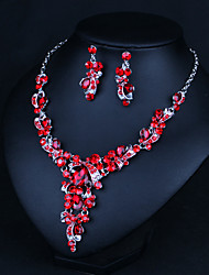 cheap -Women's Clear Blue Red AAA Cubic Zirconia Collar Necklace Chandelier Heart Fashion Elegant Earrings Jewelry Rainbow / White / Burgundy For Wedding Engagement Holiday 1 set