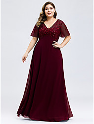 cheap -A-Line V Neck Floor Length Chiffon / Tulle Elegant & Luxurious Prom / Formal Evening Dress 2020 with Embroidery