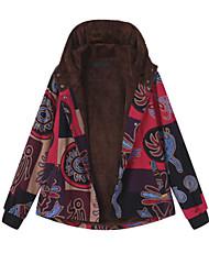 abordables -Femme Quotidien Automne hiver Normal Manteau, Géométrique Capuche Manches Longues Coton / Polyester Jaune / Rouge