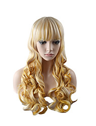 cheap -Synthetic Wig Body Wave Layered Haircut Neat Bang Wig Long Light golden Synthetic Hair 24 inch Women's Fashionable Design Women Blonde