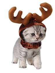 cheap -Dog Cat Ornaments Hair Accessories Winter Dog Clothes Coffee Costume Labrador Golden Retriever Corgi Plush Solid Colored Reindeer Classic Style Headwarmers S