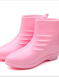 cheap -Women's Boots Rain Boots Flat Heel Round Toe PU Booties / Ankle Boots Fall & Winter Black / Wine / Pink