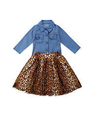 cheap -Baby Girls' Casual Leopard / Solid Colored Pleated Long Sleeve Long Clothing Set Blue