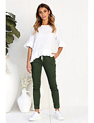 cheap -Women's Basic Slim Pants - Solid Colored Black, Patchwork Black Wine Army Green S M L