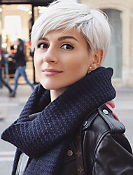 cheap -Human Hair Blend Wig Short Straight Natural Straight Bob Pixie Cut Layered Haircut Asymmetrical Black White Cool Comfortable Natural Hairline Capless Women's All Natural Black Medium Auburn / Bleach