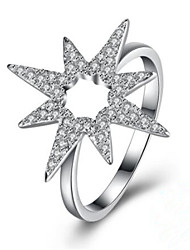 cheap -Women's Ring 1pc Silver Gold Plated Imitation Diamond Silver Round Stylish Party Daily Jewelry Classic Flower Star Cool