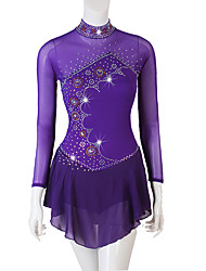 cheap -Figure Skating Dress Ruching Crystals / Rhinestones Women's Girls' Performance Long Sleeve Spandex