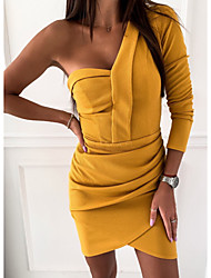 cheap -Women's Mini Yellow Dress Basic Daily Wear Bodycon Solid Colored One Shoulder S M Skinny