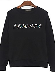 cheap -Women's Sweatshirt Letter Basic Hoodies Sweatshirts  White Black Gray