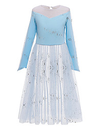 cheap -Kids Girls' Active Sweet Solid Colored Sequins Lace Trims Long Sleeve Midi Dress Blue