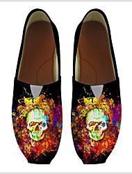 cheap -Women's Flats 3D Print Flat Heel Round Toe PU Booties / Ankle Boots Fall & Winter Rainbow