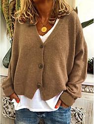 Недорогие -Жен. Однотонный Длинный рукав Кардиган Свитер джемпер, V-образный вырез Лиловый / Желтый / Оранжевый S / M / L