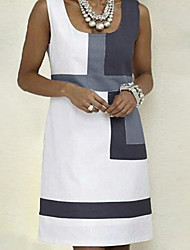 cheap -Women's A Line Dress - Sleeveless Color Block Strap Basic White S M L XL XXL