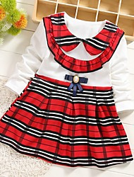 cheap -Baby Girls' Basic Plaid Long Sleeve Dress Red