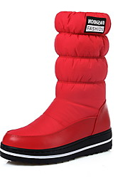 cheap -Women's Boots Snow Boots Flat Heel Round Toe Suede Mid-Calf Boots Winter Black / Red / Blue