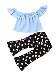 cheap -Baby Girls' Casual / Active Sun Flower / Black / Blue Floral / Solid Colored Pleated / Print Sleeveless Long Clothing Set Blue