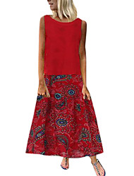 cheap -Women's Maxi Red Green Dress Basic Casual / Daily A Line Floral Black Red Print M L Loose / Belt Not Included