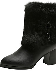 cheap -Women's Boots Chunky Heel Round Toe PU Booties / Ankle Boots Winter Black