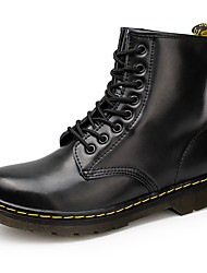 cheap -Men's Combat Boots Leather Fall Boots Booties / Ankle Boots Black / Brown / Red