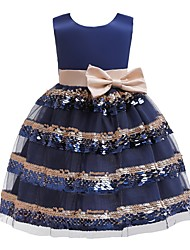 cheap -Kids Girls' Striped Sequins Dress Blue