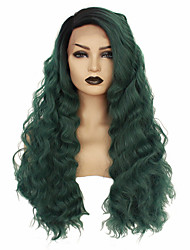 cheap -Synthetic Lace Front Wig Wavy Taylor Middle Part Lace Front Wig Long Green Synthetic Hair 22-26 inch Women's Heat Resistant Women Hot Sale Green / Glueless